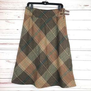 RALPH LAUREN Wool Plaid Long/Midi A-line  Skirt